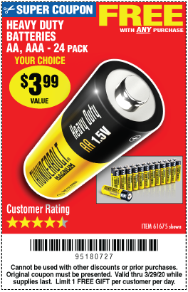 Free Heavy Duty Batteries With Purchase Through 3 29 20 Harbor Freight Tools Heavy Duty Batteries