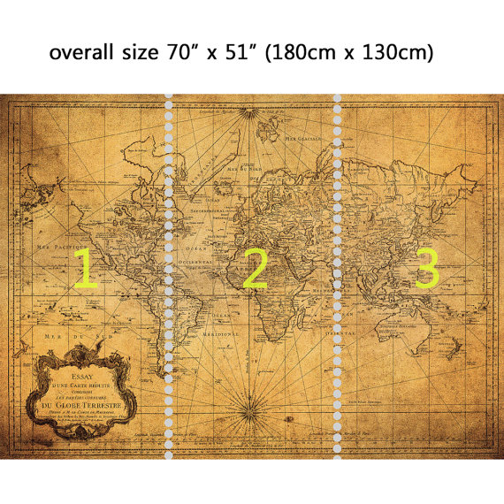Wall Mural Vintage Map of the World, Peel and Stick