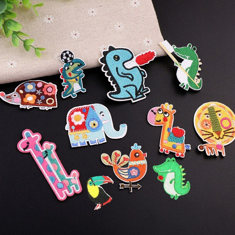 Patch Badges Embroidered Dinosaur Applique Sewing Clothes Stripes Stickers