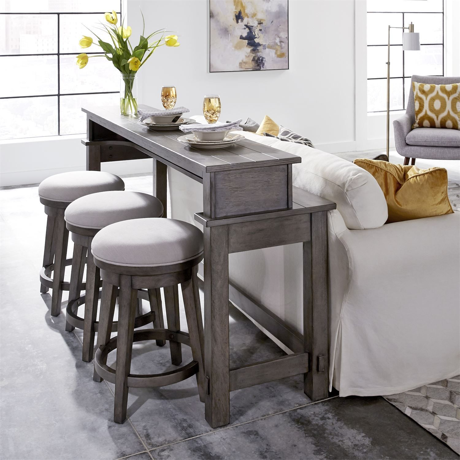 Modern Farmhouse Gray 4 Piece Console with Swivel Stools