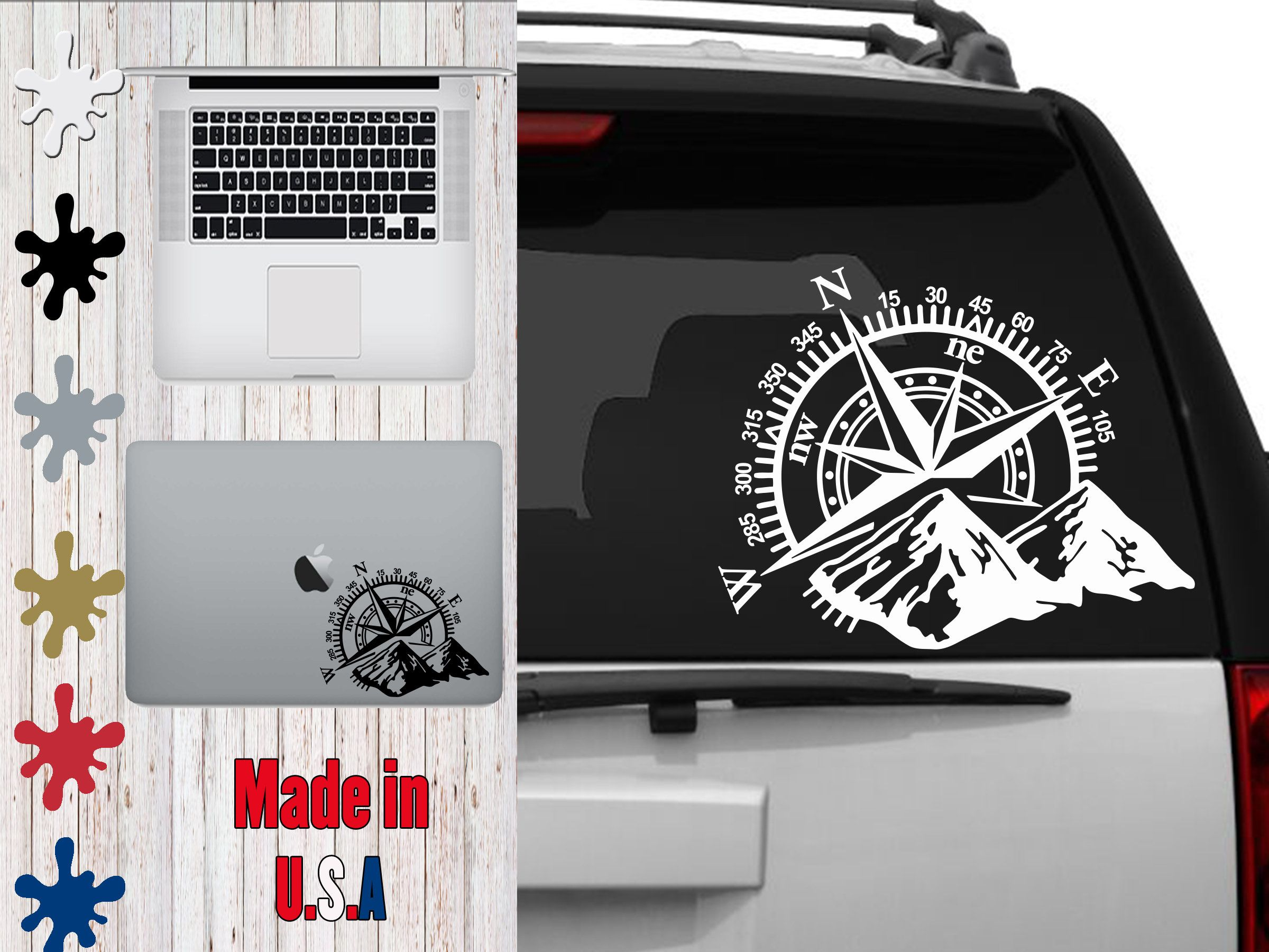 Mountain Compass Car Decal Choose Your Size Car Decal Laptop Decal Mug Decal Tumbler Decal Cup Decal Phone Decal Phone Decals Car Compass Tumbler Decal [ 1800 x 2400 Pixel ]