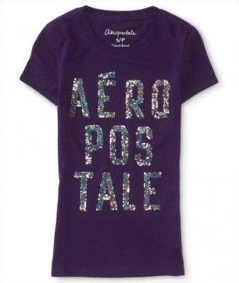 Camiseta Aéropostale Women's Stacked Logo Graphic T Grape Escape #Aéropostale#Camiseta