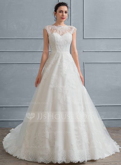 Ball-Gown Scoop Neck Court Train Lace Wedding Dress (002117034 ...