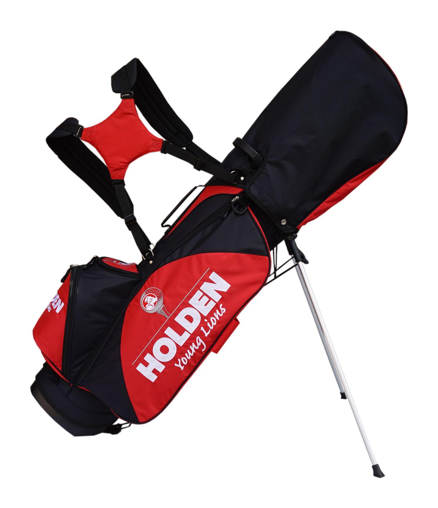 """客製化高爾夫腳架袋 9"""" 吋 ,6格頭框 6個口袋 .面料聚酯纖維(polyester) 黑色系搭半圓紅色LOGO"""