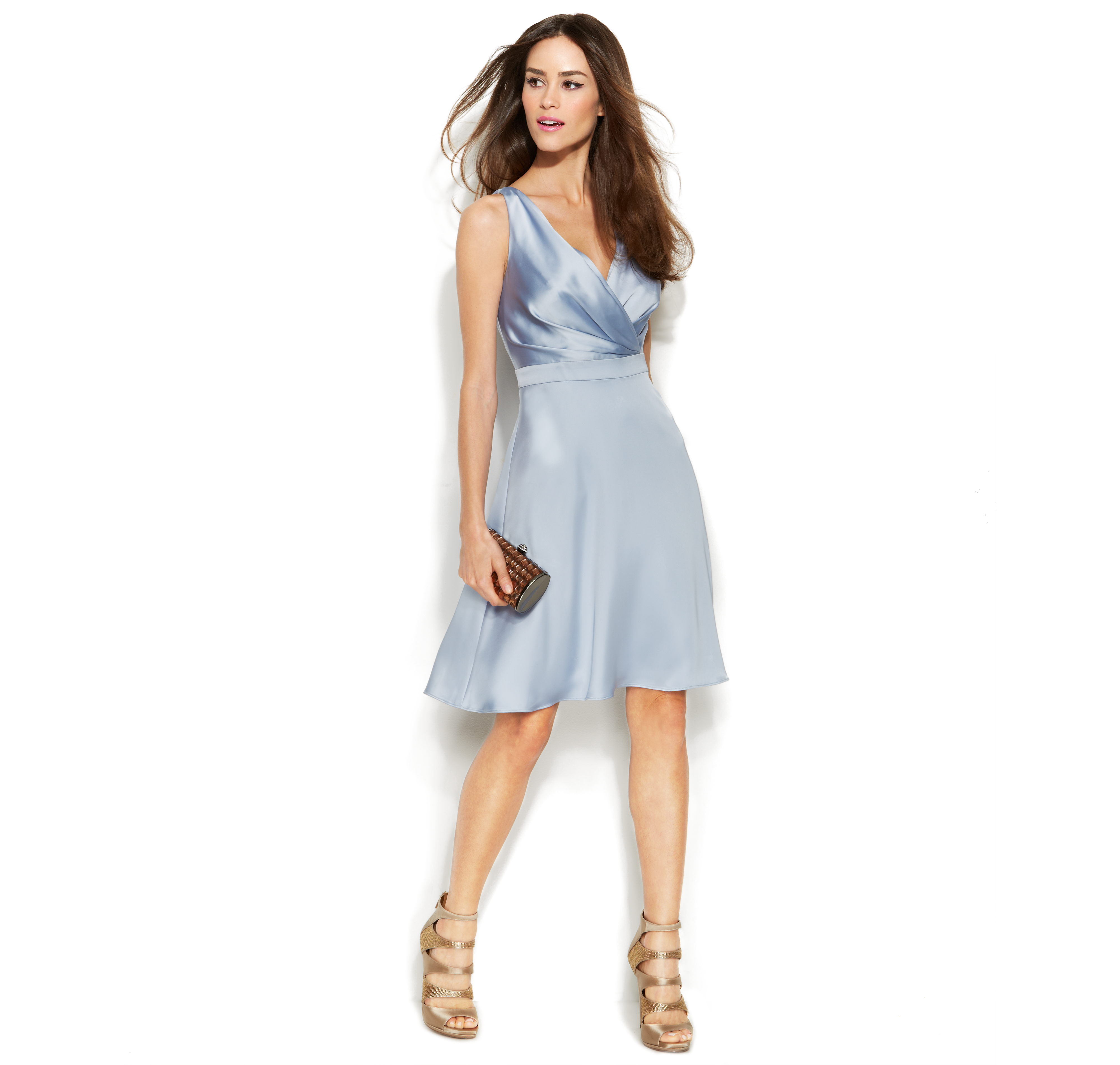 Calvin Klein Wedding Gowns: Calvin Klein Sleeveless Satin Surplice-Neck Dress