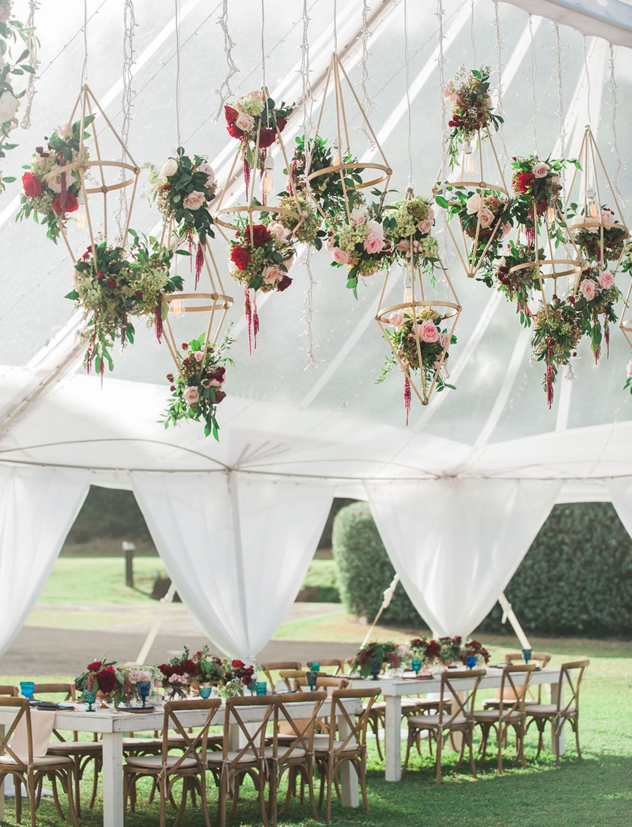 hanging geometric floral installation for a boho