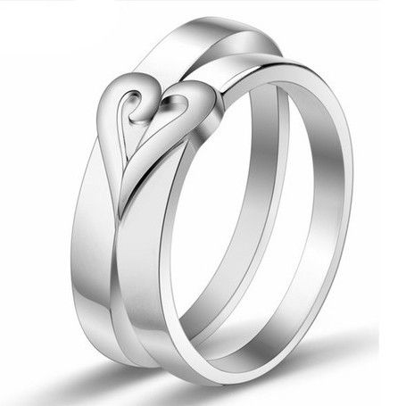 Two Half Hearts Engagement Rings For Couples Set Of 2