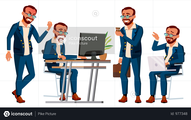 Premium Office Worker Working Gestures Illustration Download In Png Vector Format People Illustration Illustration Motion Graphics Animation