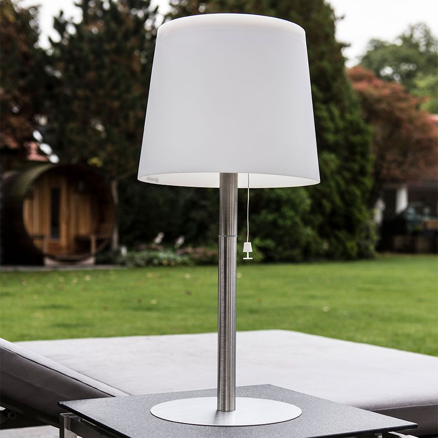 The Gacoli Monroe No 3 Outdoor Table Lamp Is A Minimalistic Lamp Provided With A Modern Lampshade Outdoor Solar Lights Outdoor Table Lamps Modern Lamp Shades