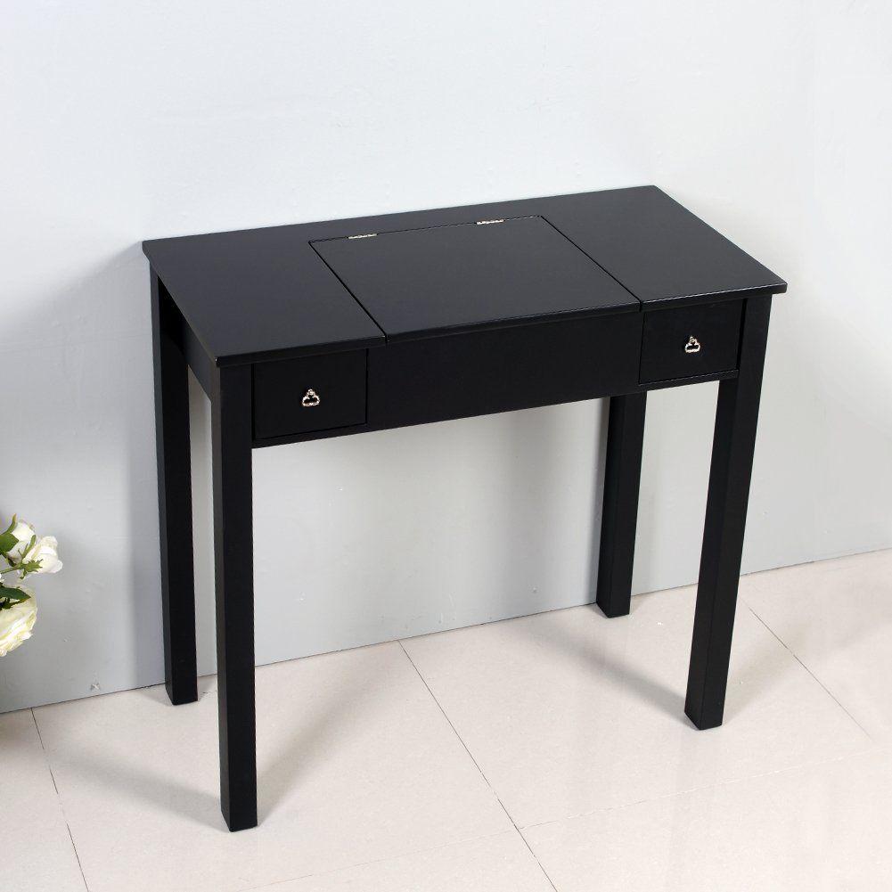 new styles 185e6 66122 Amazon.com: Organizedlife Black Dressing Table Vanity with ...