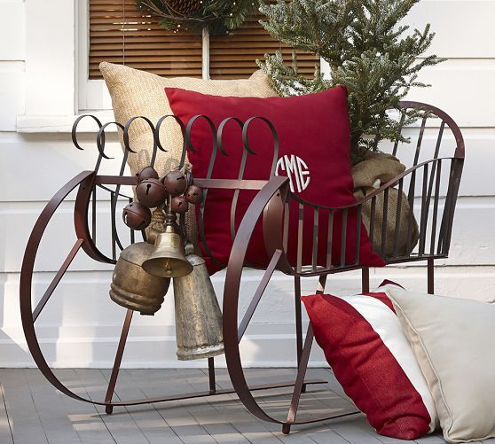 Outdoor Red Metal Sleigh Outdoor Christmas Decorations
