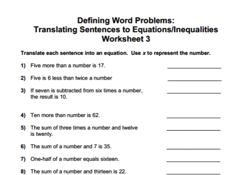 Translating English Sentences To Math Expressions Equations And Inequalities I K Translating Algebraic Expressions Algebraic Expressions Writing Expressions