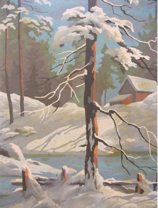 Winter Scene Paint By Number Painting Vintage Painting Art