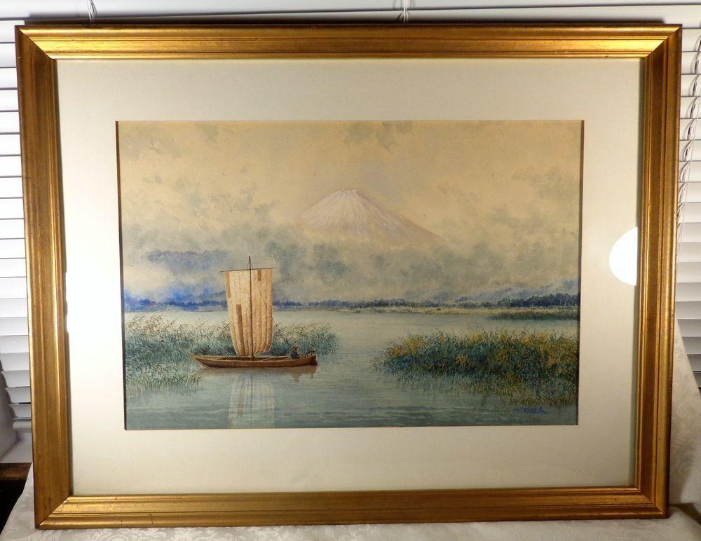 Vintage Japanese Watercolor Painting Artist M Yosuke Asian