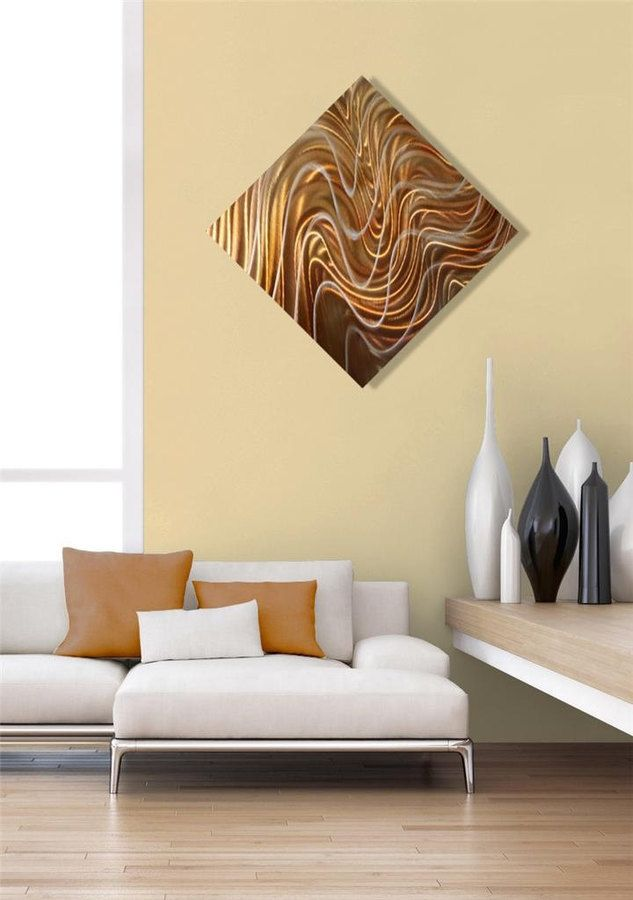 Etsy Golden Copper Modern Metal Wall Art Sculpture, Abstract Metal ...
