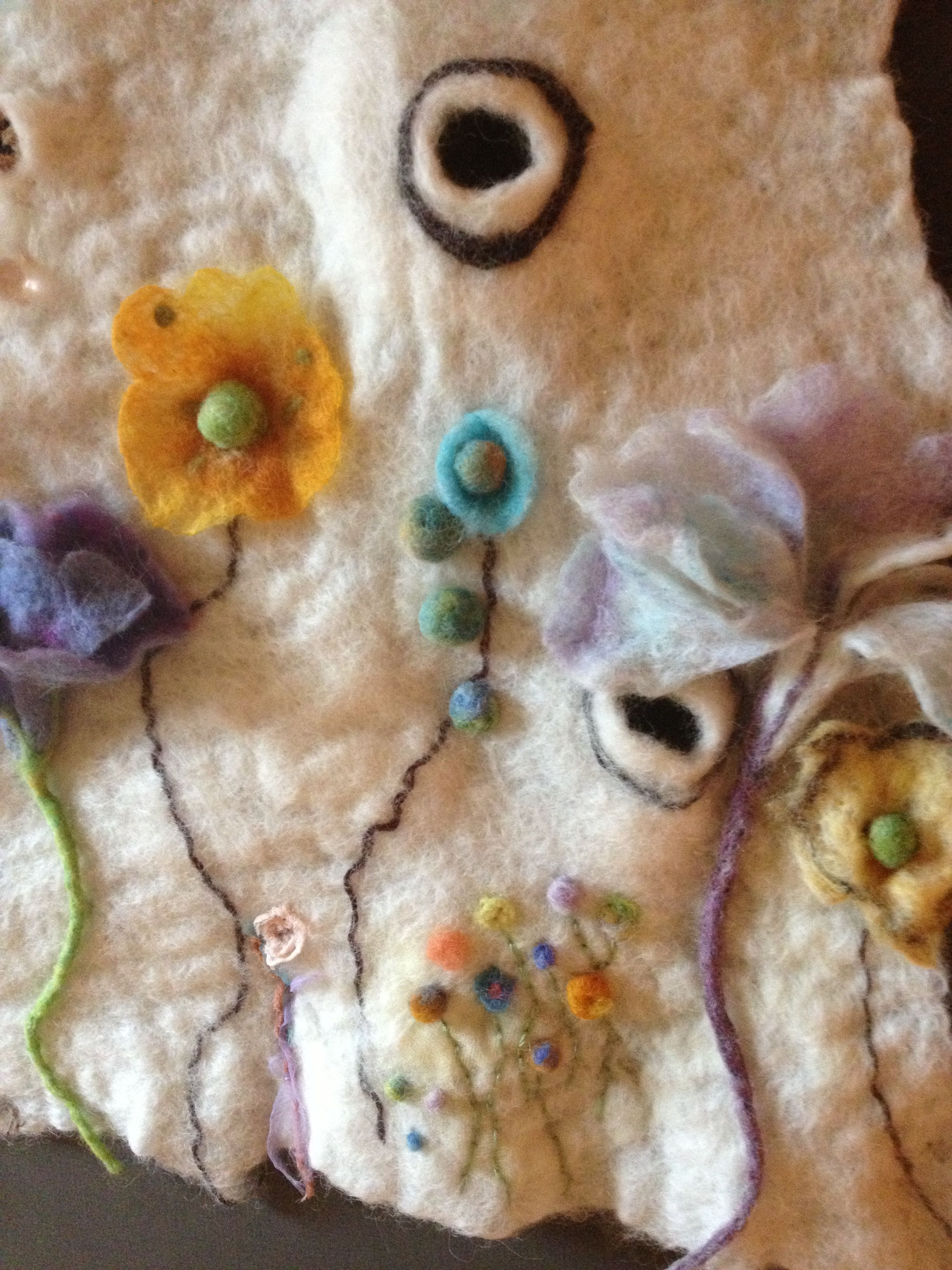 """Close up of """"growing on the Moon"""" felted"""