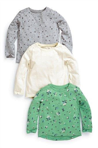 """Girls Tops Online - 3 months to 6 years - """"Next Grey Star, Sparkle Stripe And Green Ditsy Tops Three Pack (3mths-6yrs)"""""""