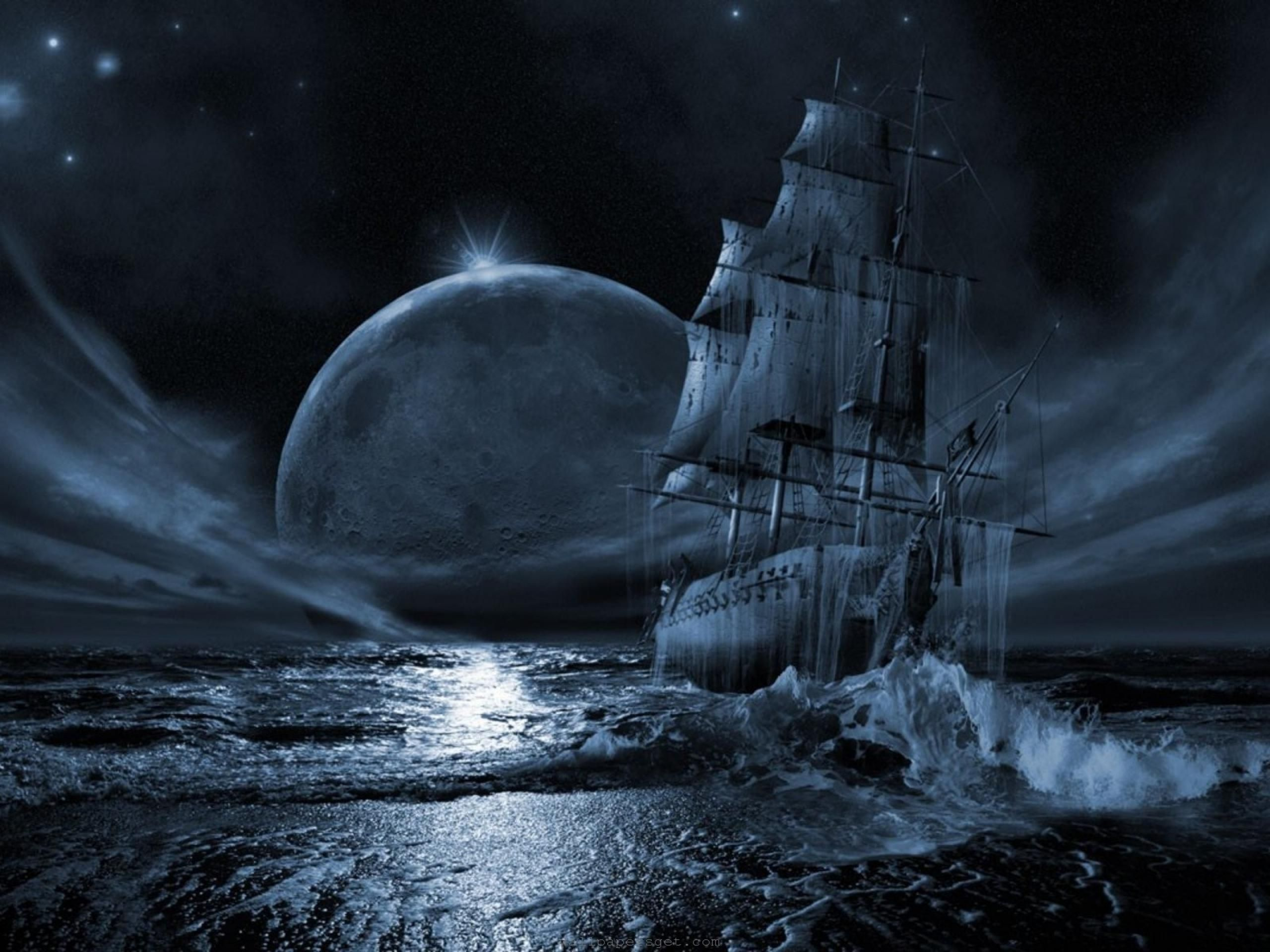 free computer desktop wallpaperghost ship series full moon rising mixed media fantasy art you might not be aware that ghost ships have existed for