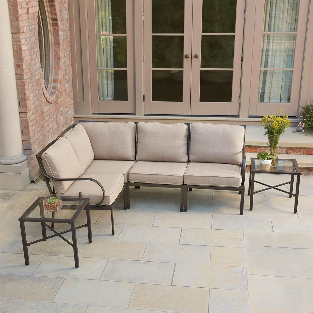 Hampton bay granbury piece metal outdoor sectional with fossil