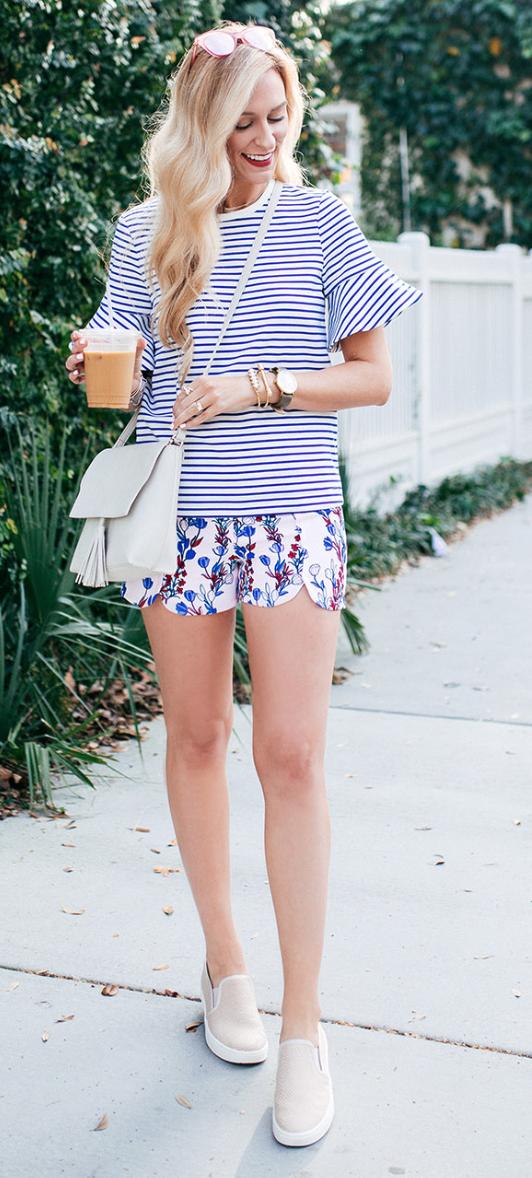 Print scallop shorts