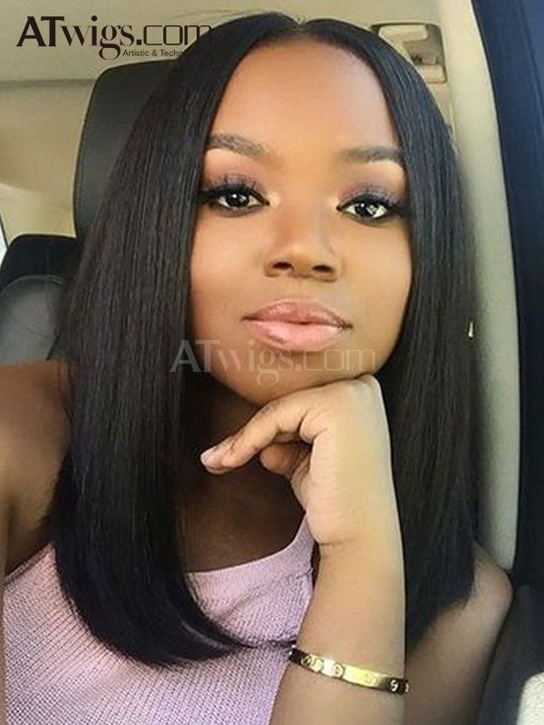Three Part 16 Inch Silk Straight Bob Full Lace Wigs Unprocessed Virgin Peruvian Human Hair For Women Straight Human Hair Hair Styles Womens Hairstyles