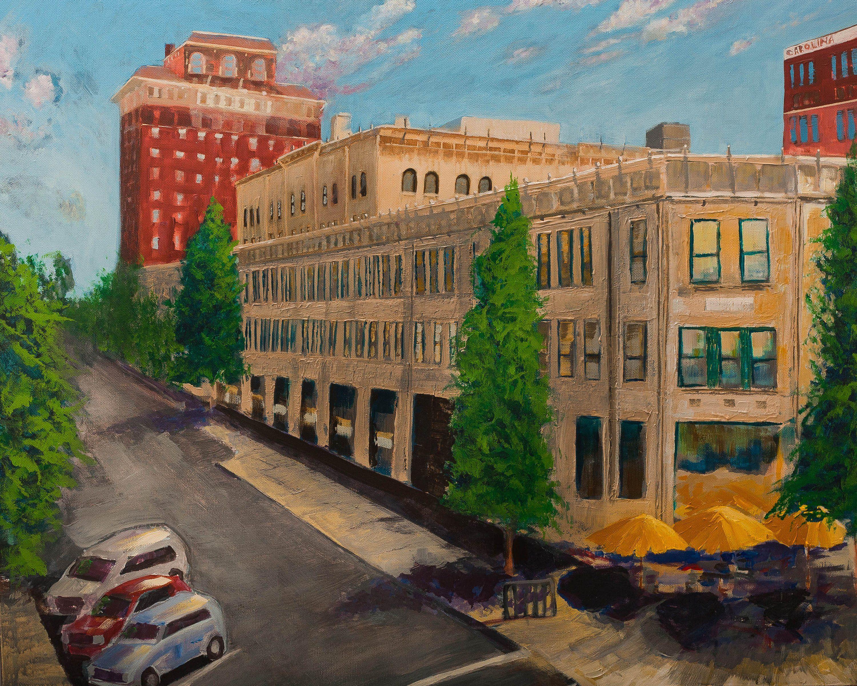 Cityscape giclee print on canvas asheville wall art grove