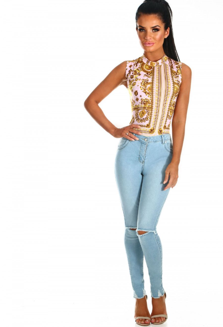a4f60ea65d9 Dare You Light Blue Rip Knee Skinny Jeans