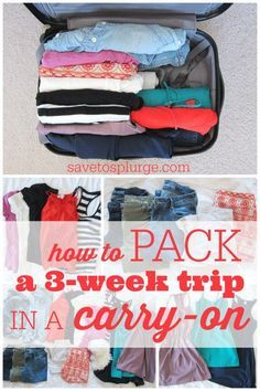 long trip in a carry-on, how to pack a carry-on, 3 week trip with a carry-on, packing tips #ad