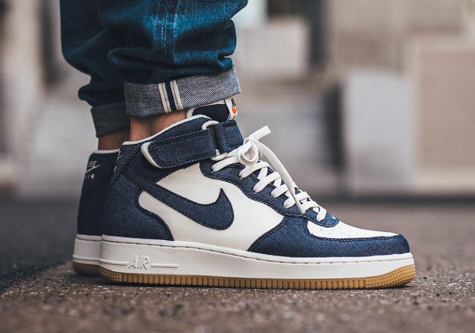 Denim Overlays Appear On This Nike Air Force 1 Mid • KicksOnFire.com