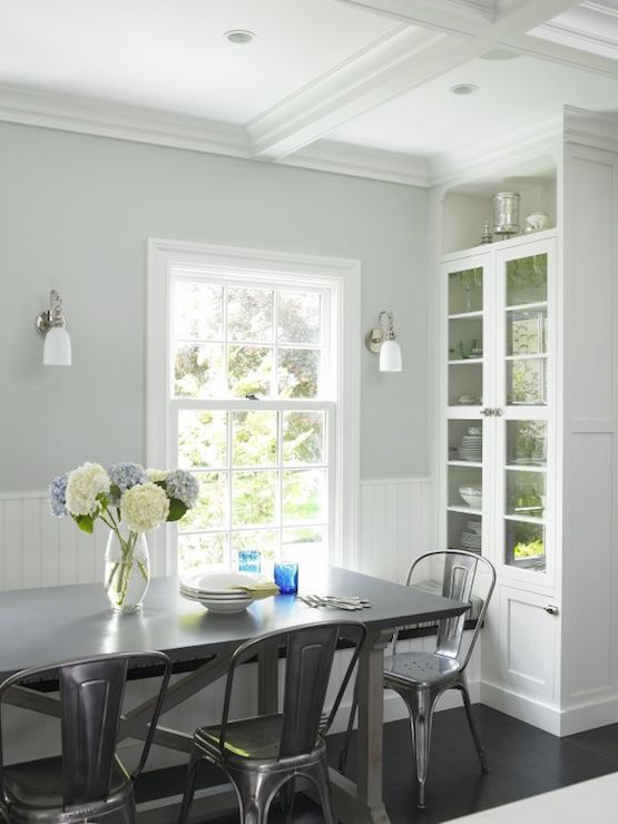 Lovely Dining Room With Coffered Ceiling Over Pale Gray Blue Walls Stunning Coffered Ceiling Dining Room Design Inspiration