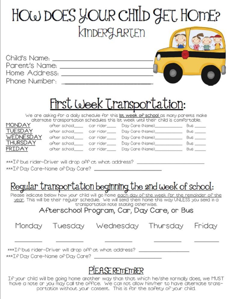 Back To School Forms Cruisin Into Kindergarten School Forms School Plan School