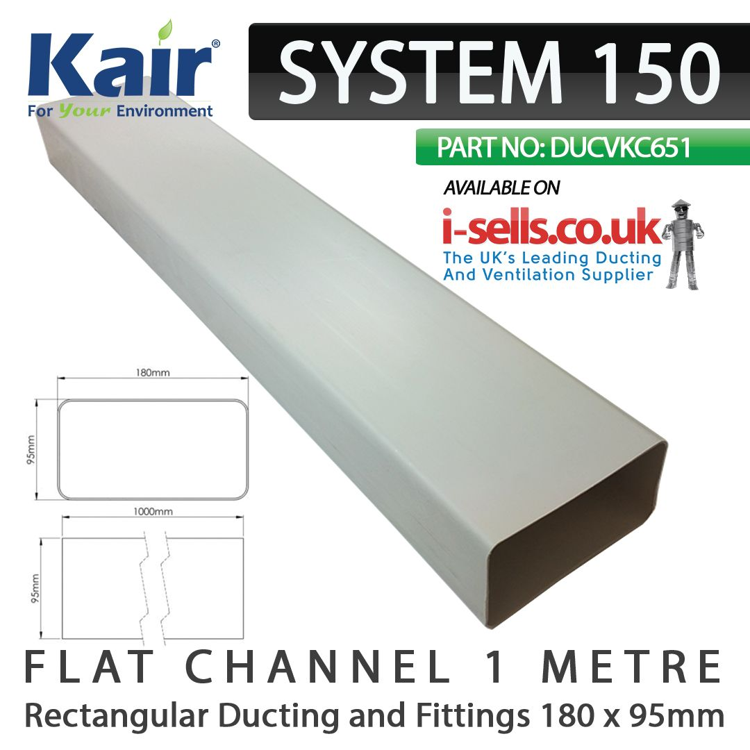 White Plastic Rectangular Ducting Pipe 180mm X 95mm 1000mm 1 Metre Length Kair System 150 Sys Is Designed For Use With