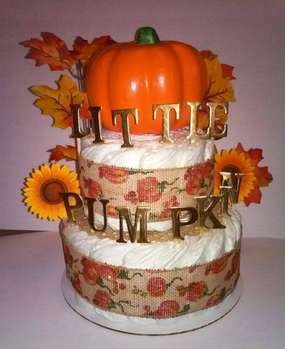 Ready To Ship Little Pumpkin Fall Halloween Burlap Diaper Cake
