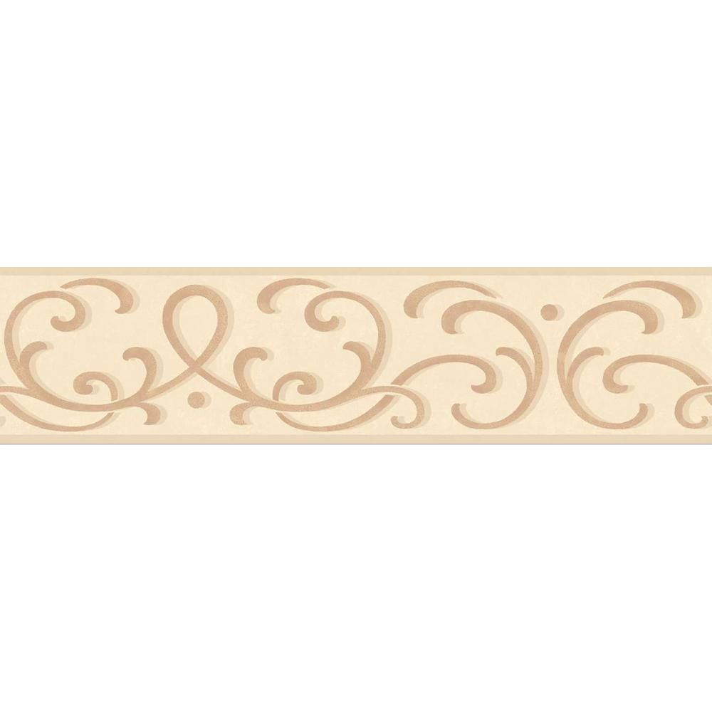 Brewster Carmen Scroll Peel And Stick Wallpaper Border Tfdb07504s The Home Depot Peel And Stick Wallpaper Wallpaper Border Wall Borders