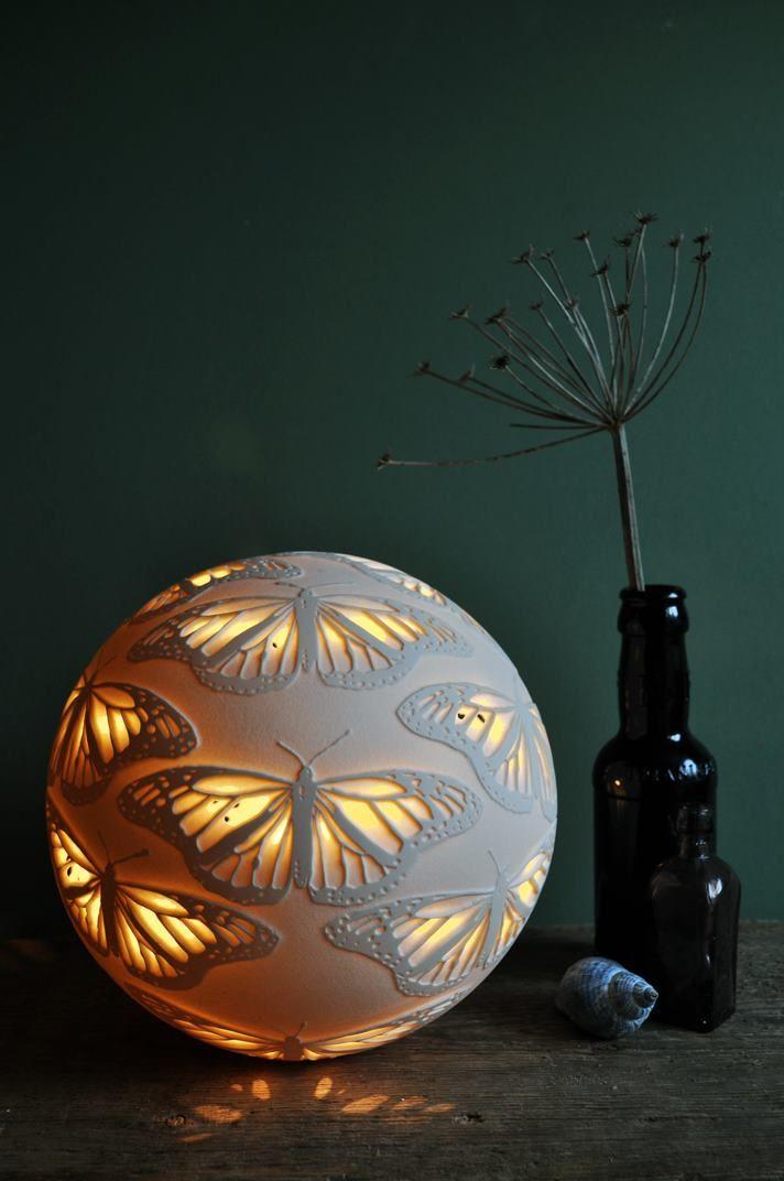 Monarchs Porcelain Lamp …   Porcelain lamp, Ceramic light