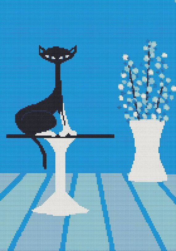 Modern Cross Stitch  PDF Pattern 'Lyro Cat' By Kerry by GeckoRouge, $25.00