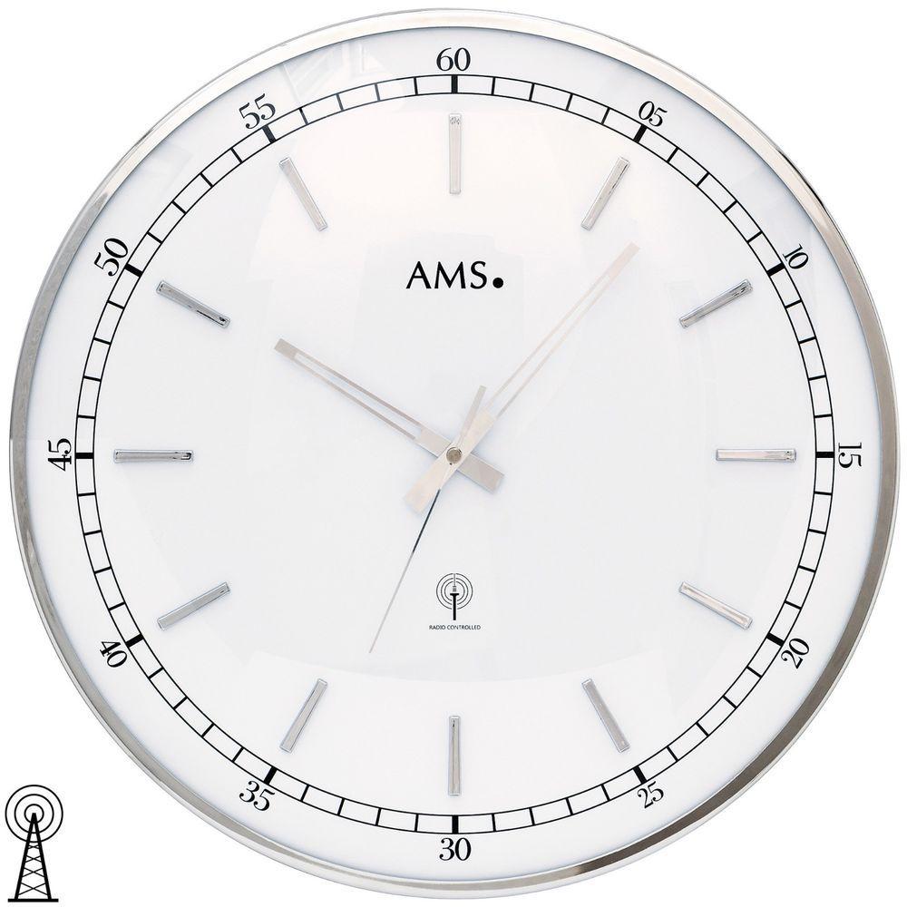 Ams 5608 Wanduhr Funk Funkwanduhr Analog Silbern Rund Metallrahmen Silberfarben Wanduhren Spiegel Wanduhr Uhren