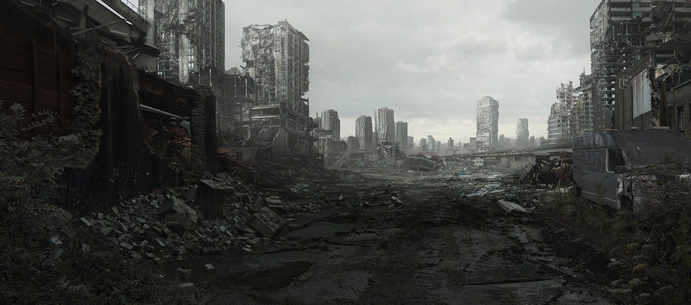 Digital matte painting depicting a ruined cityscape ...