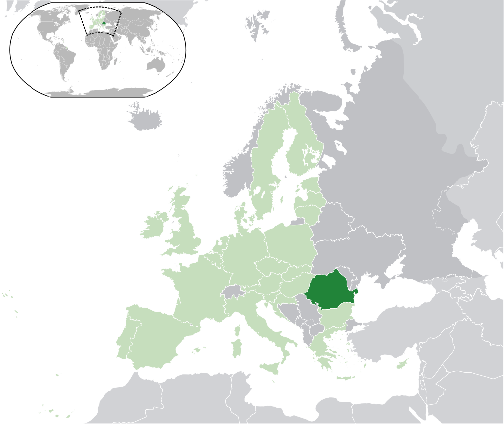 Location of Romania (dark green)– in Europe (green & dark ...