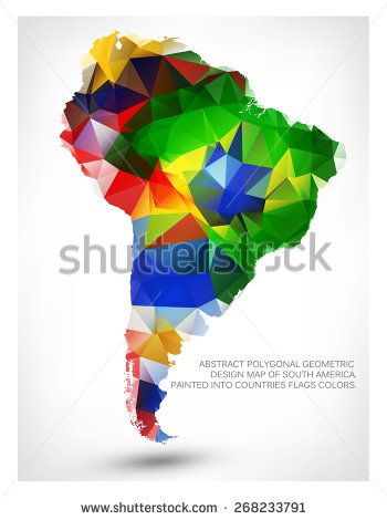 Stock vector abstract polygonal geometric design map of south stock vector abstract polygonal geometric design map of south america painted into countries flags colors 268233791g 350470 gumiabroncs Image collections