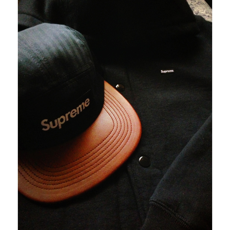 9ffdd08f Supreme Black Herringbone + Leather camp cap & Supreme Black Small box logo  snap front hoodie @youcantstopmike