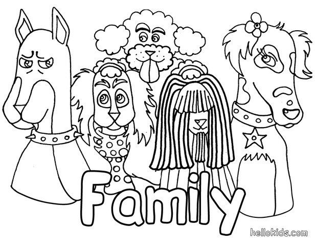 Dog\'s family coloring page. Beautiful animals coloring sheets ...