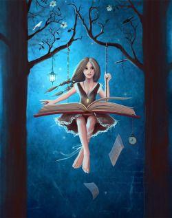 bibliolectors:  Me columpio con la lectura (ilustración de Veseja Menskaja)
