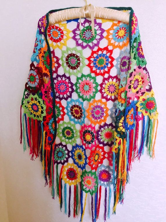 Colourful Crochet Shawl, Boho Gypsy Shawl, Hippie Patchwork Colorful ...