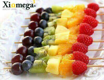 Para el postre después de la comida, una deliciosa brocheta de fruta. ¿Cuáles frutas agregarían ustedes?