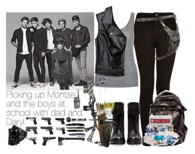 """""""Picking up Montse and the boys at school with dad (Rick) and Daryl."""" by aras-aniluap ❤ liked on Polyvore featuring moda, Payne, Topshop, Forever 21, Pull&Bear, John Varvatos y Gerber"""
