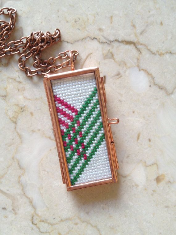 Hot Pink & Green Chevron Cross Stitch Necklace by blendblend, $49.00
