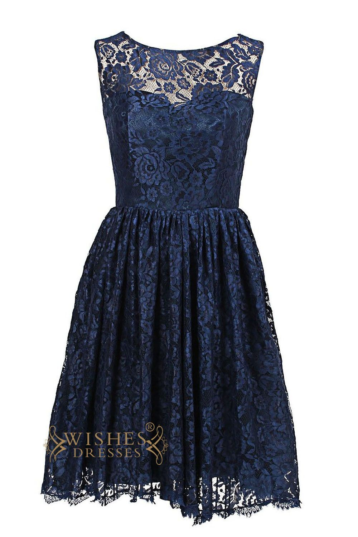 A line dark navy lace knee length bridesmaid dress am75 a line dark navy lace knee length bridesmaid dress am75 ombrellifo Gallery
