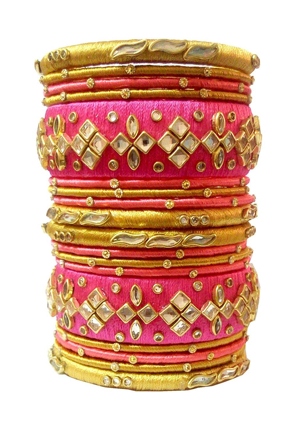 f99b74f324a Buy Blue jays hub Silk thread bangle set of 18, pink and gold color, multi  color for women/girls (2.4) Online at Low Prices in India   Amazon  Jewellery ...
