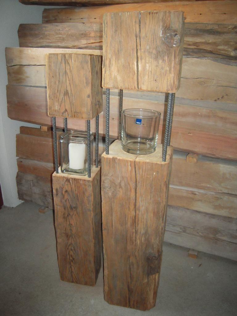 Habe einige laternen aus altholz teils ber 100 jahre alten balken abzugeben passen sehr gut - Baumstamm deko laterne ...